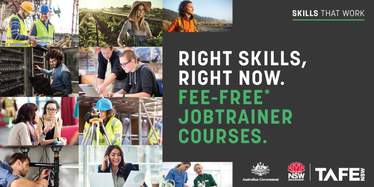 Job Trainer banner logo read, Skills that Work. Right Skills, Right Now. Fee-Free Jobtrainer courses